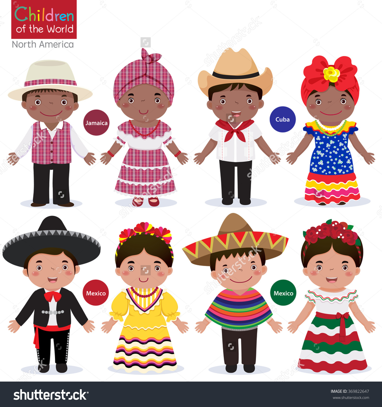 Kids Different Traditional Costumes Jamaica Cuba Stock Vector.