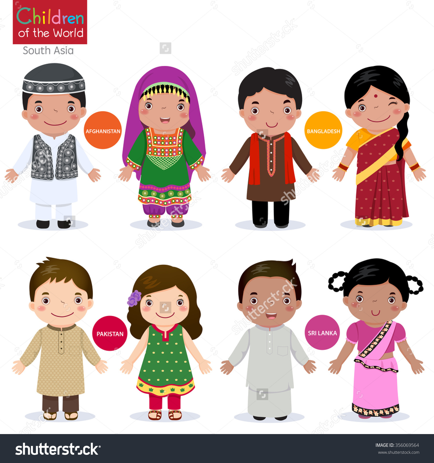 Kids Traditional Costume Afghanistan Bangladesh Pakistan Stock.