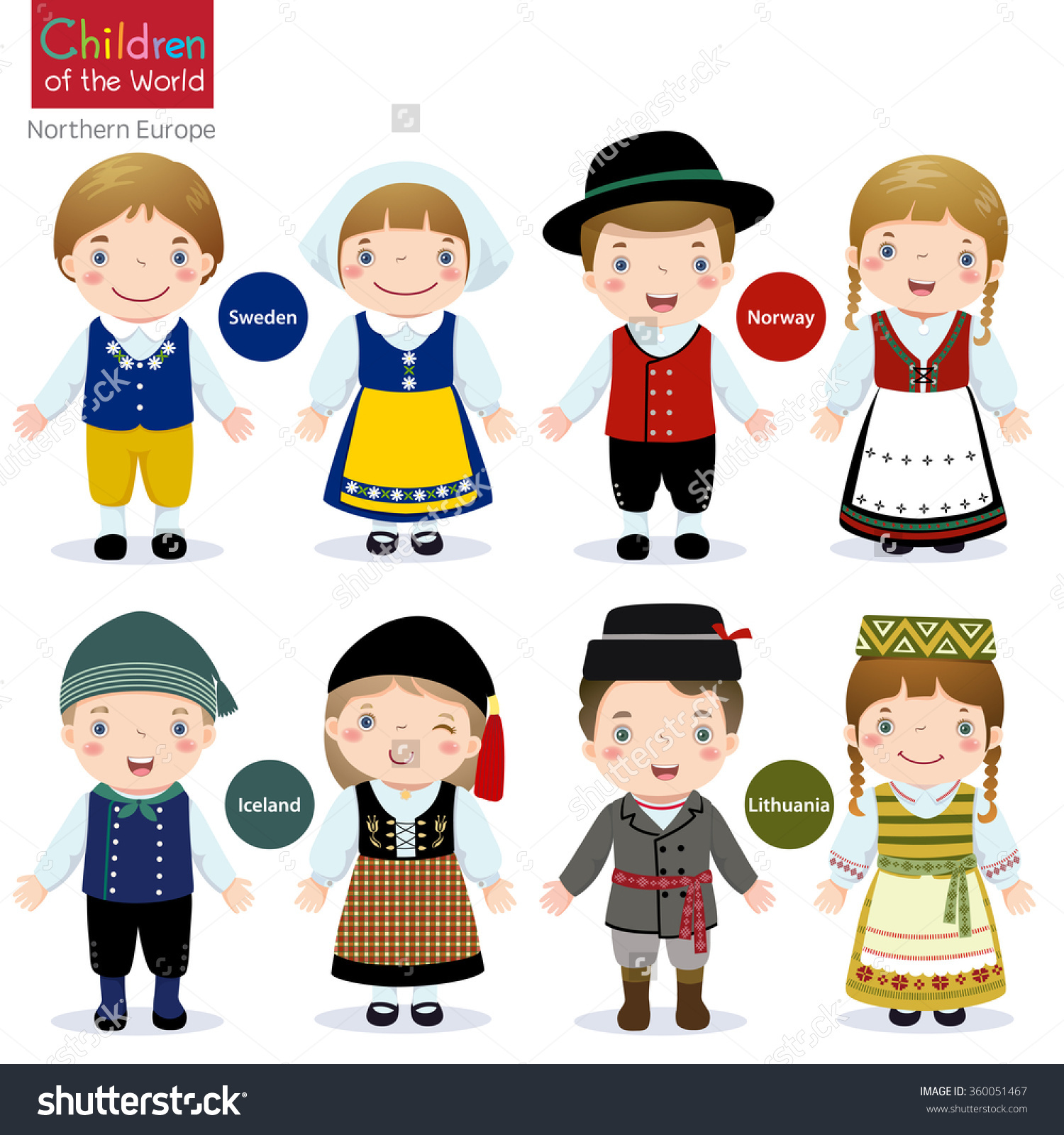 Kids Traditional Costume Sweden Norway Iceland Stock Vector.