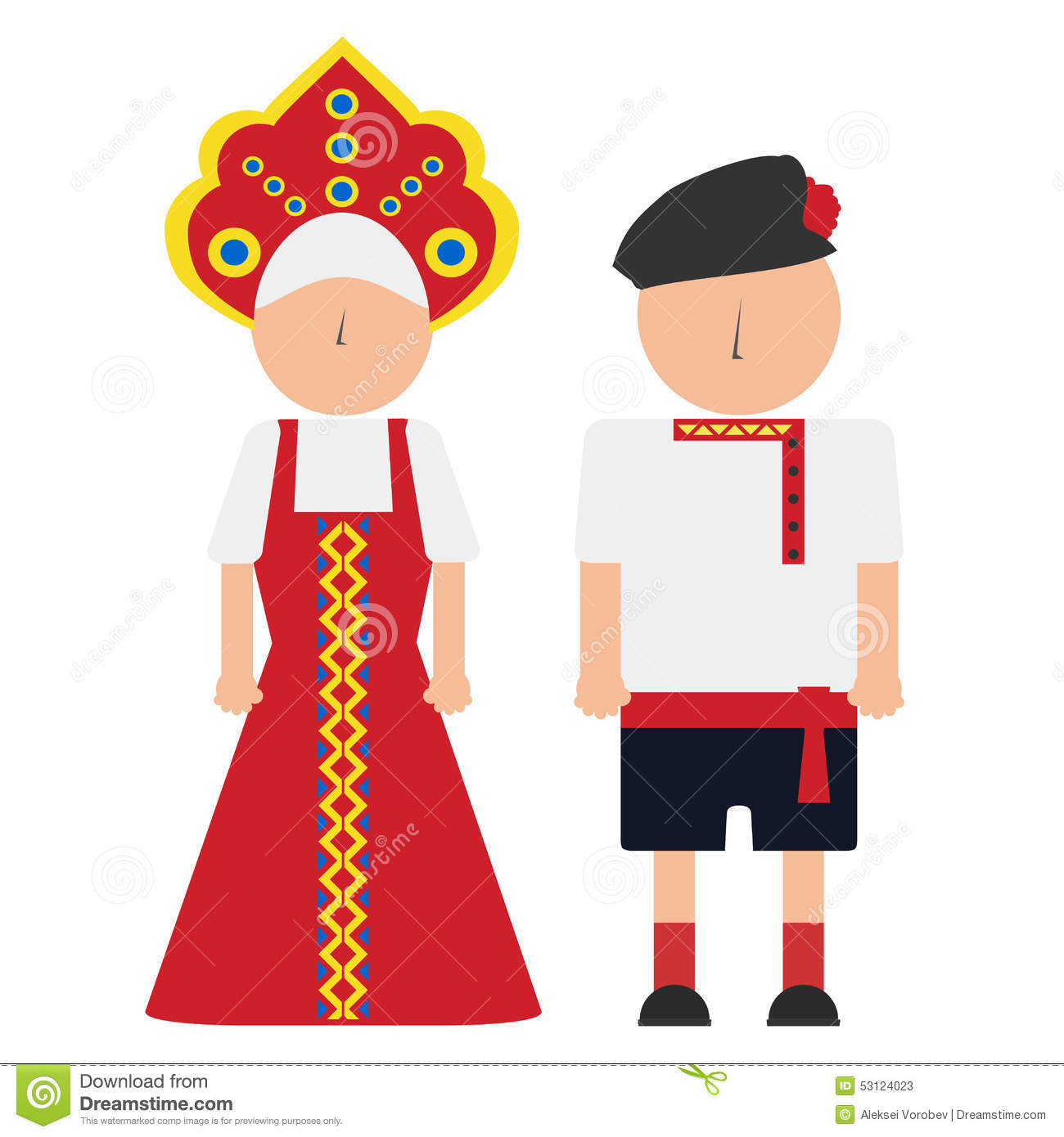 National costumes clipart russia.
