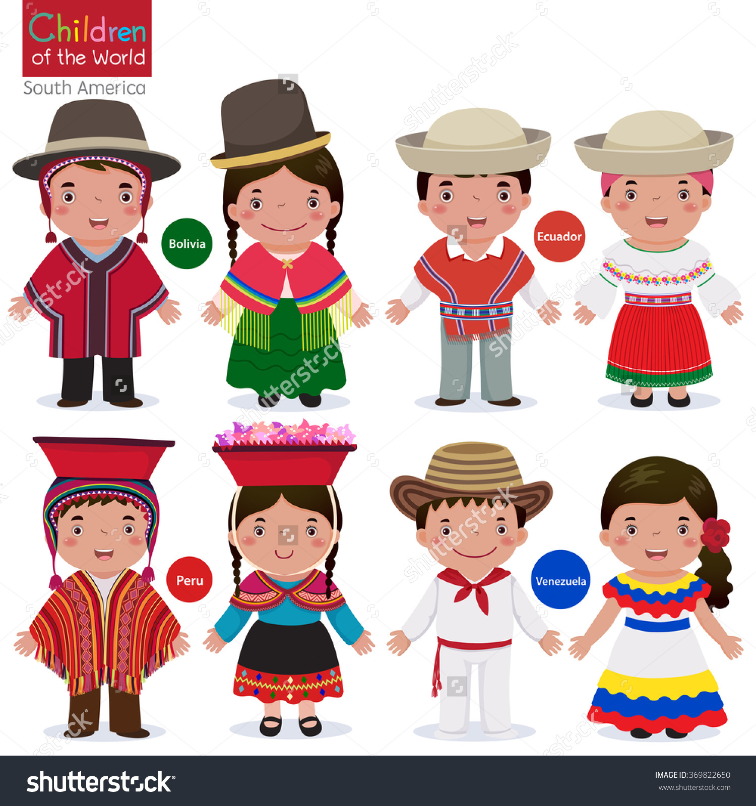 Kids Different Traditional Costumes Bolivia Ecuador Stock Vector.