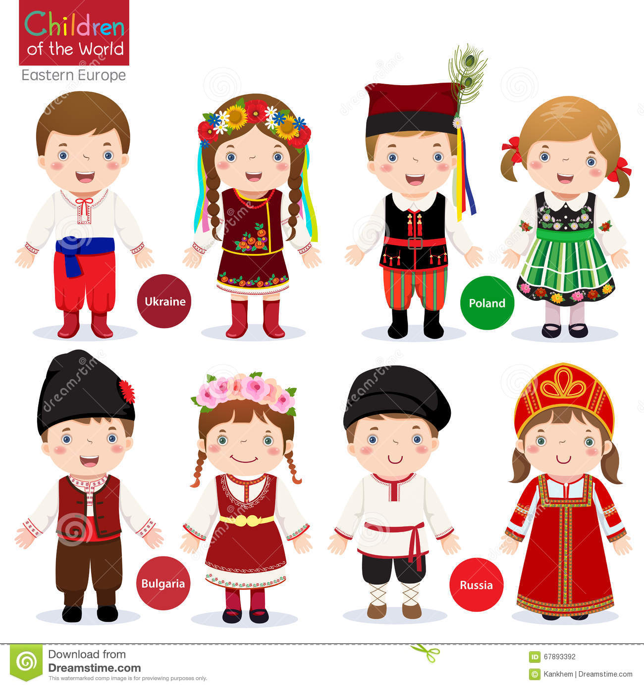 Kids In Different Traditional Costumes Stock Vector.