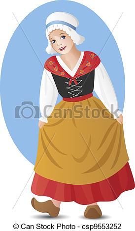 Vector Illustration of French girl in national costume.