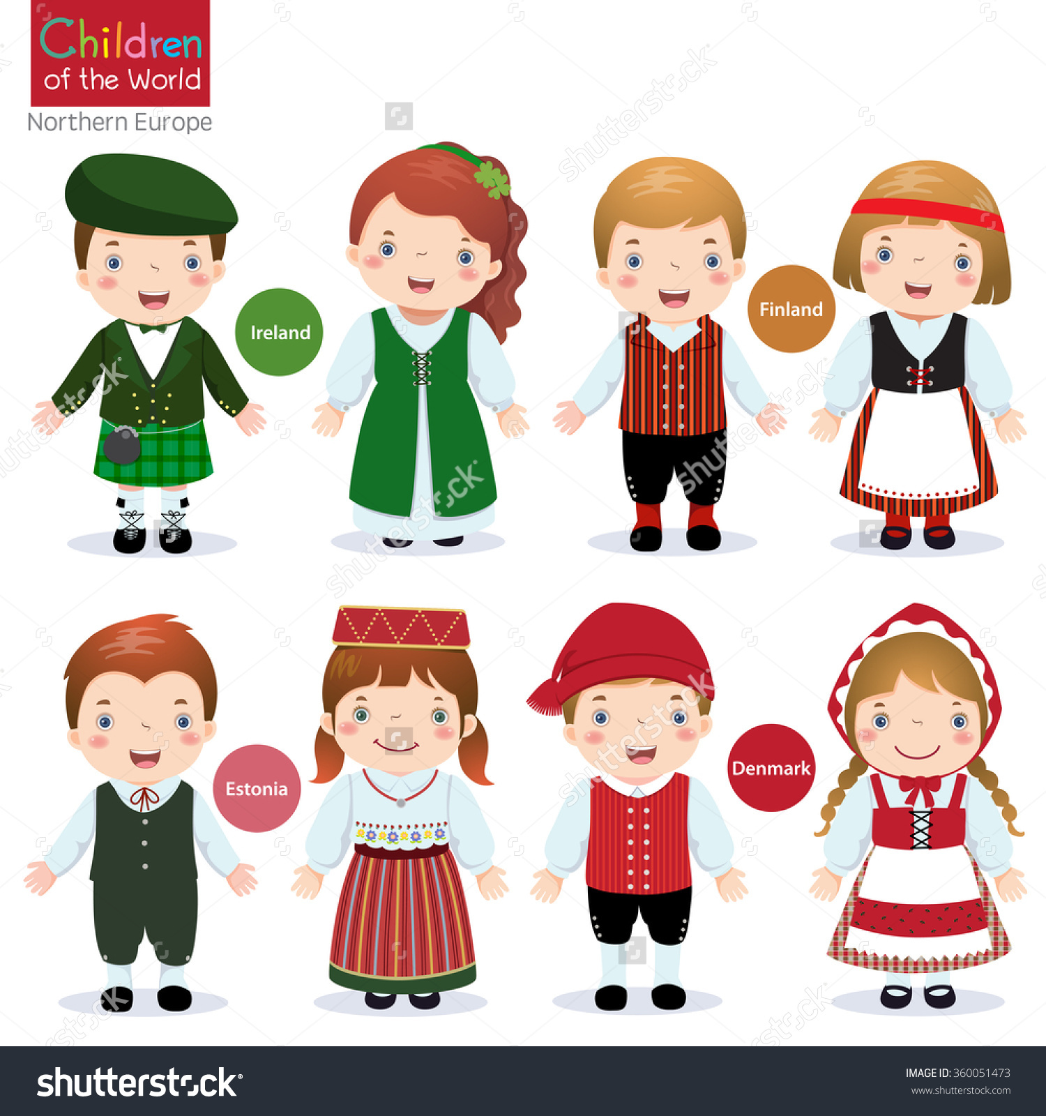 Kids Traditional Costume Ireland Finland Estonia Stock Vector.