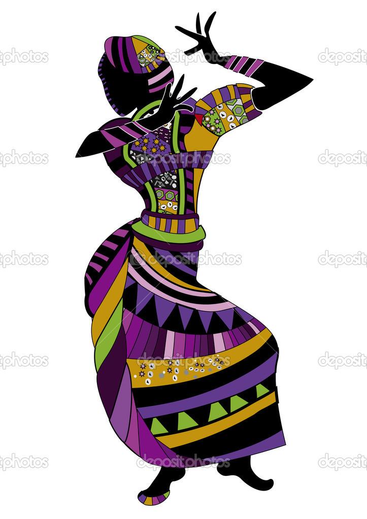 African Folk Dancing Clipart.