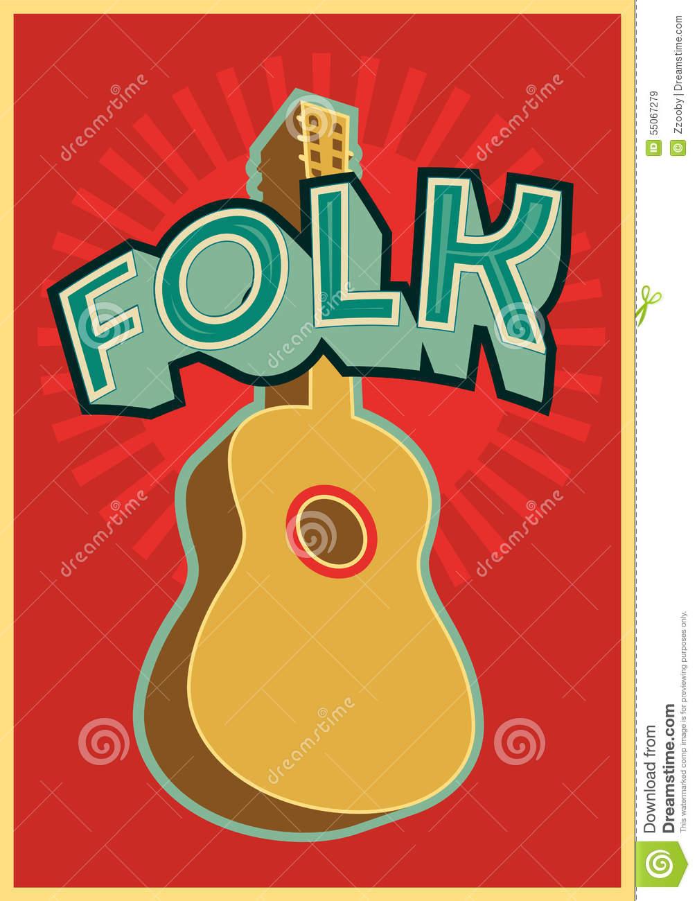 Folk Festival Poster With Guitar. Vector Illustration. Stock.