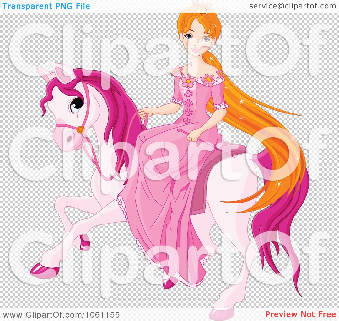 Clipart princess On A Pink Pony.
