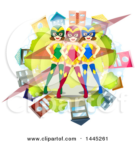 Clipart of a Team of Caucasian Female Super Heroes over a Globe.