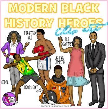 Modern Black History Heroes Clip Art.