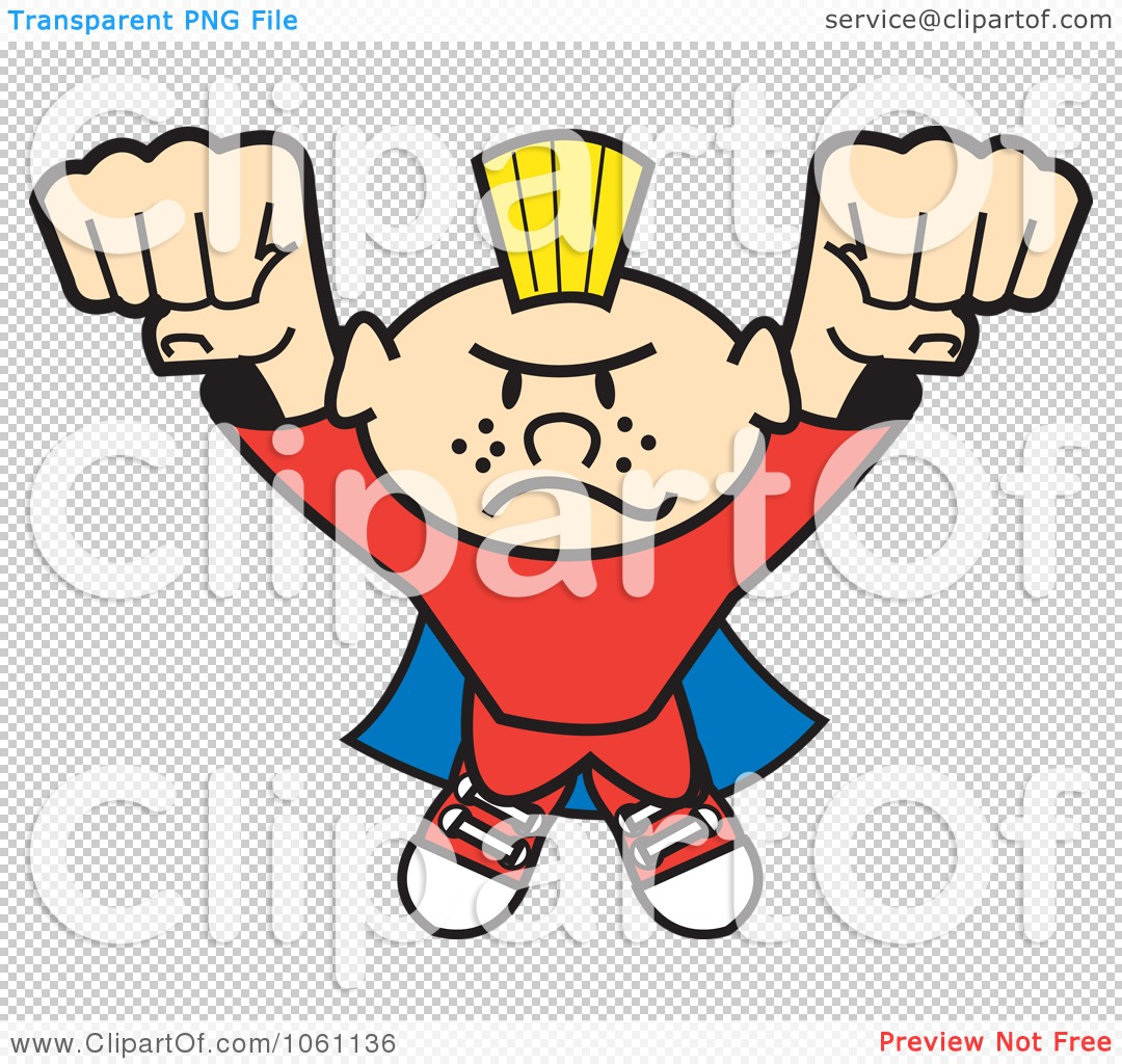 Clipart Punk Super Hero Flying Forward.