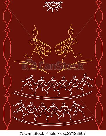 Vector Clipart of Folk Dancers Tribal Design, Motif, Wall Painting.