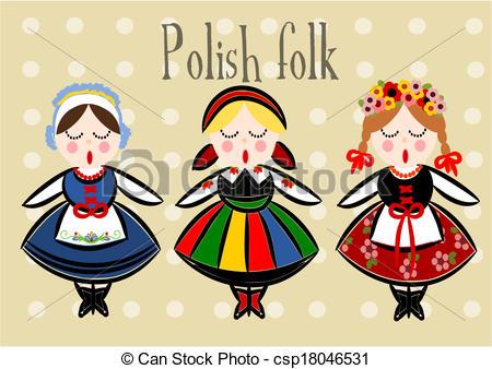 Polish Folk Dancers Clipart.