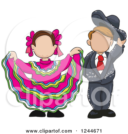 Clipart of a Sketch of Spanish Folk Dancers with Colorful Swooshes.