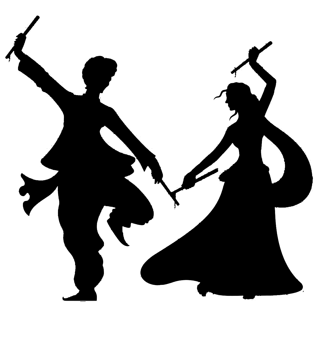 Folk dance clipart black and white.