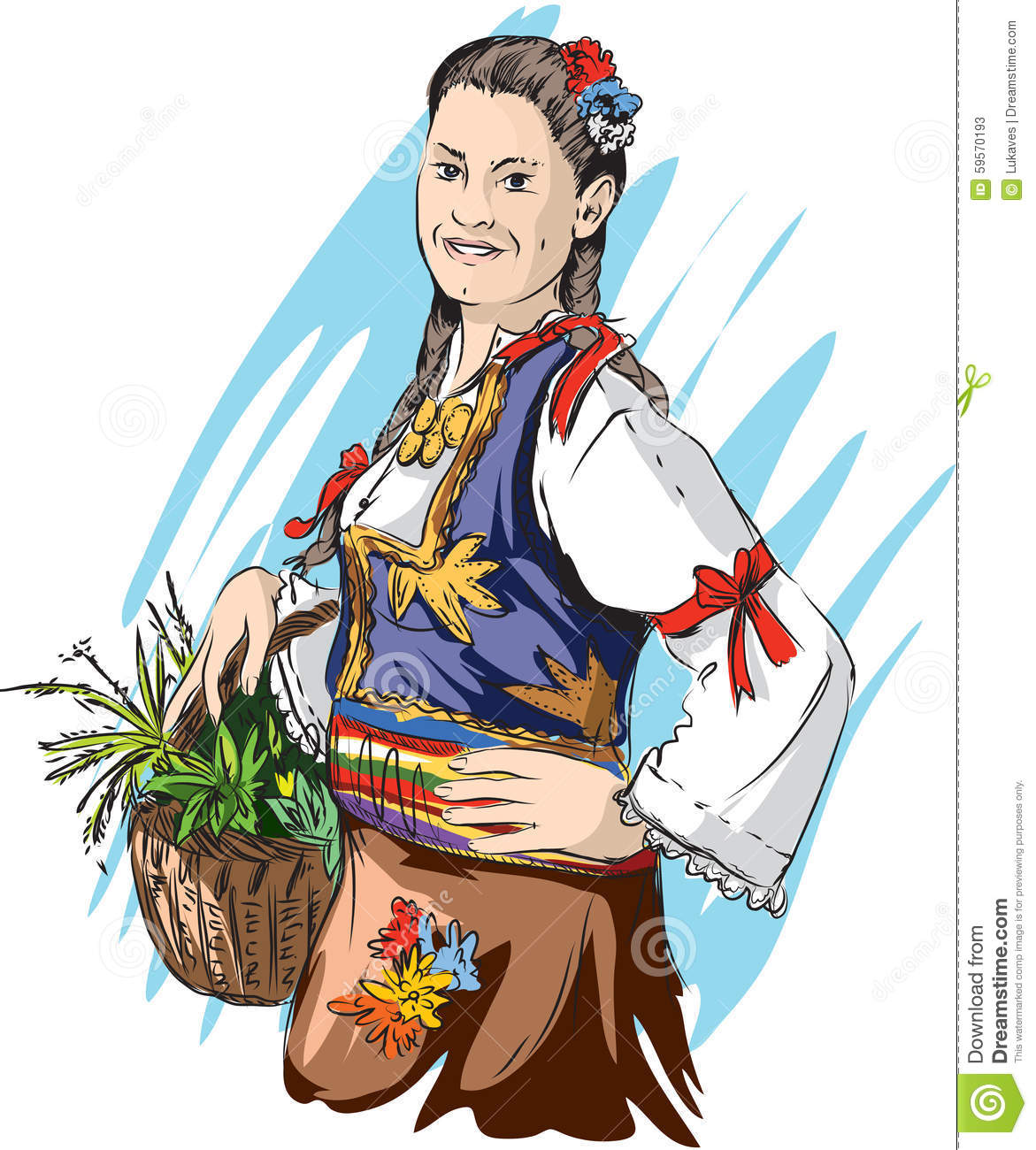 Serbian Folklore Stock Vector.