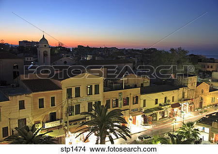 Stock Photo of Greece. Crete. Chania Old Town. Halidon Street at.