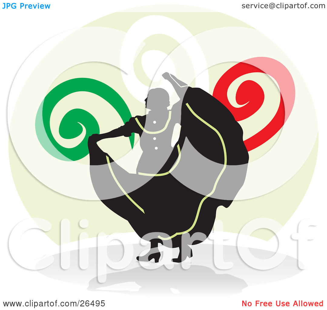 Clipart Illustration of a Silhouetted Mexican Woman Holding Up Her.