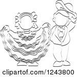 Clipart of Sketched Child Folk Dancers.