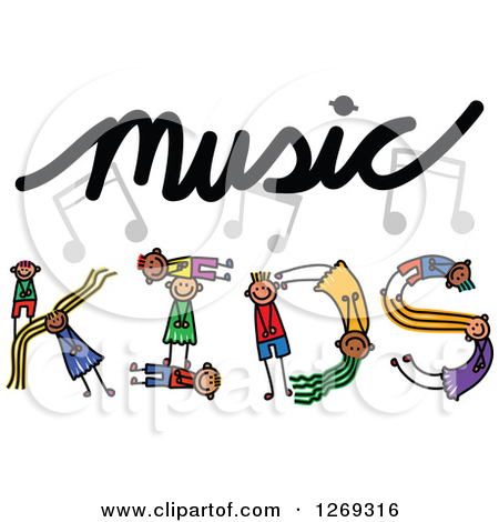 Clipart of a Black and White Wave of Music Notes.