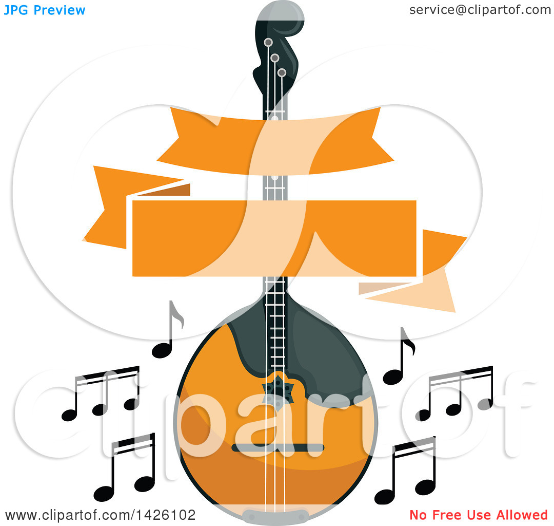 Clipart of a Folk Music Dorma or Mandolin Instrument with a Banner.