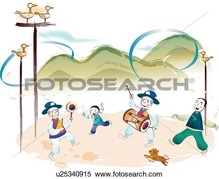 Stock Illustration of janggu, mountain, folk play, Traditional.