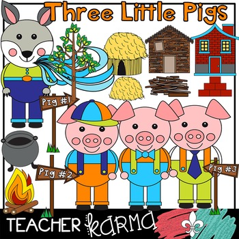 Three Little Pigs Clipart * Fairy Tales / Folk Tales / Fable.
