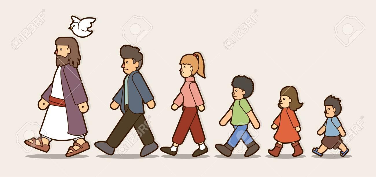 Walk with Jesus, Follow Jesus cartoon graphic vector..
