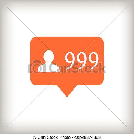 Clip Art Vector of Followers orange icon. 999 followers.
