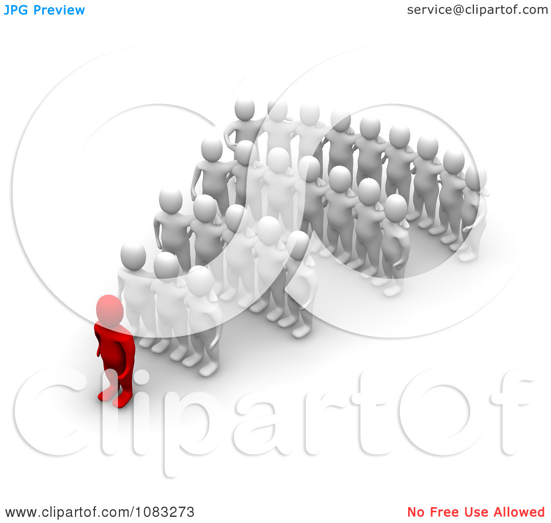 Clipart 3d Red Man Leader And White Followers.
