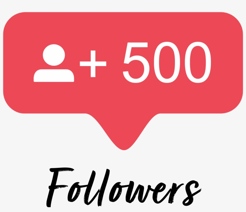 500 Instagram Followers PNG Image.