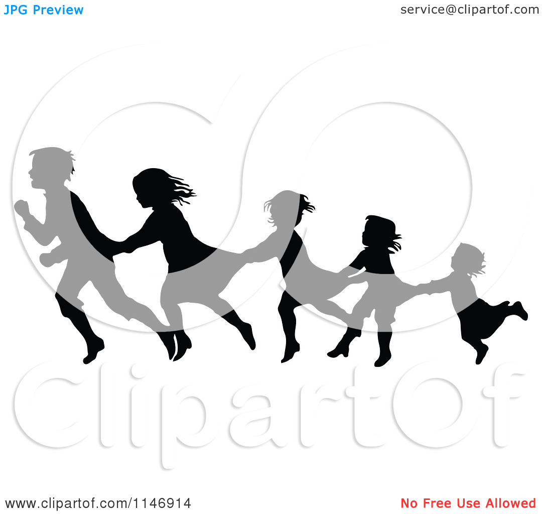 Clipart of a Silhouette Border of Children Following and Holding.