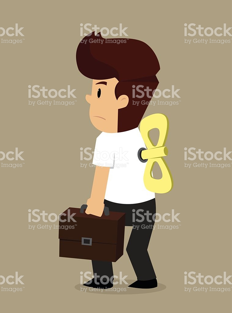 Businessman Following Orders Wind Up Doll stock vector art.