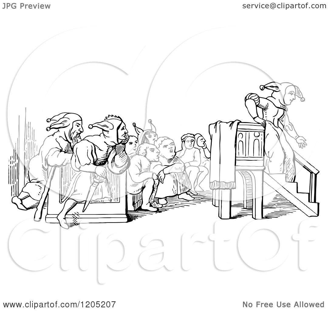 Clipart of a Vintage Black and White Preacher Folly Ending Her.