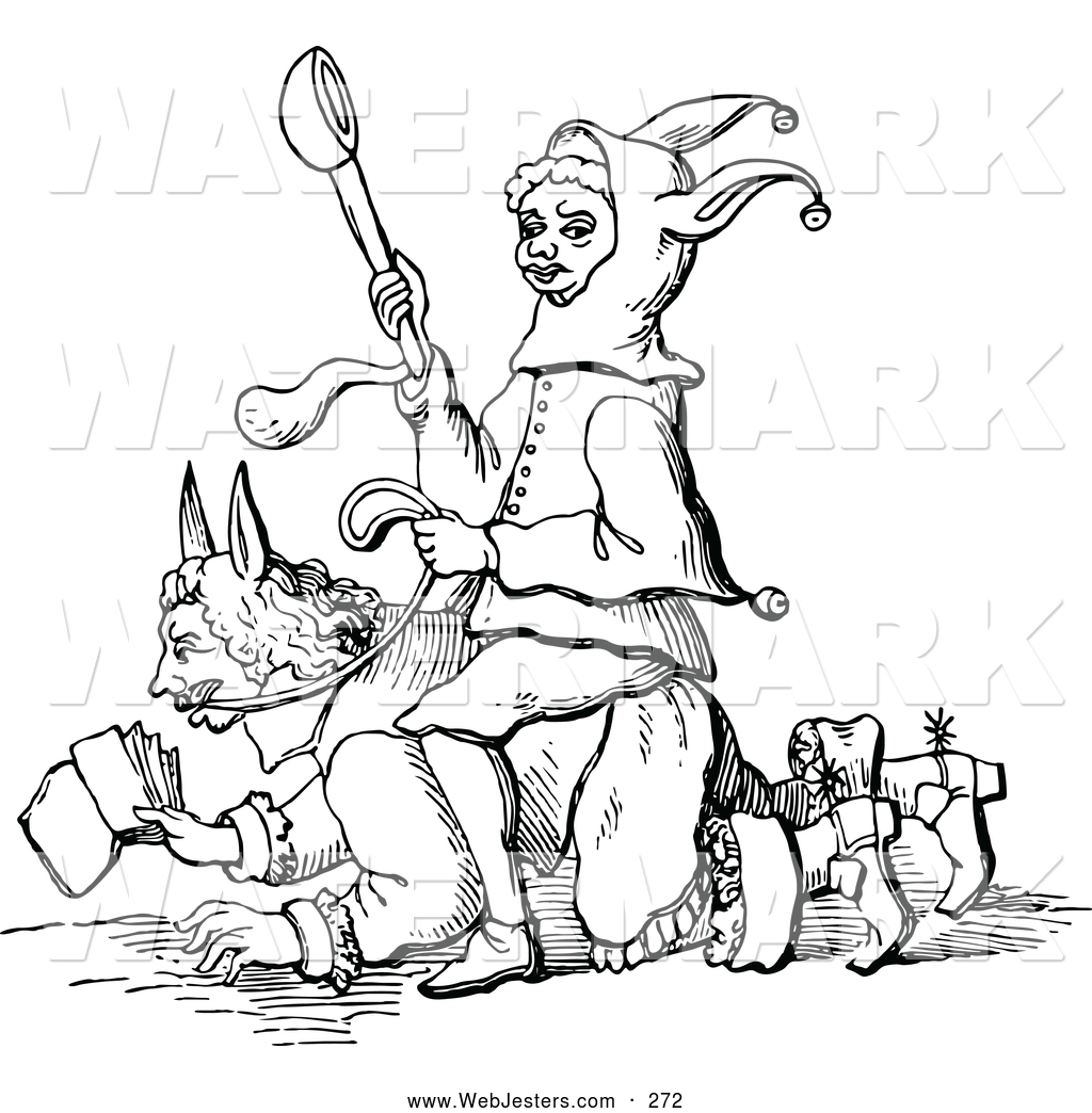 Clipart of a Black and White Folly Uppermost Jester by Prawny.