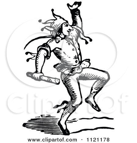 Clipart of a Vintage Black and White Jester.