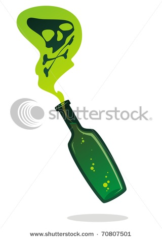 of Poison with Toxic Fumes Coming from It in a Vector Clip Art Picture.