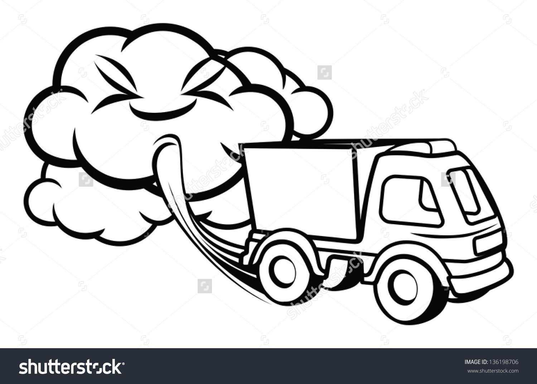 Cartoon Truck Blowing Exhaust Fumes Stock Vector 136198706.