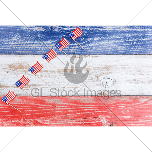 Small Usa Flags In Rising Formation On Rustic Boards With · GL.