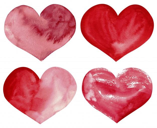 Clipart a mano de la acuarela de los corazones rojos y.