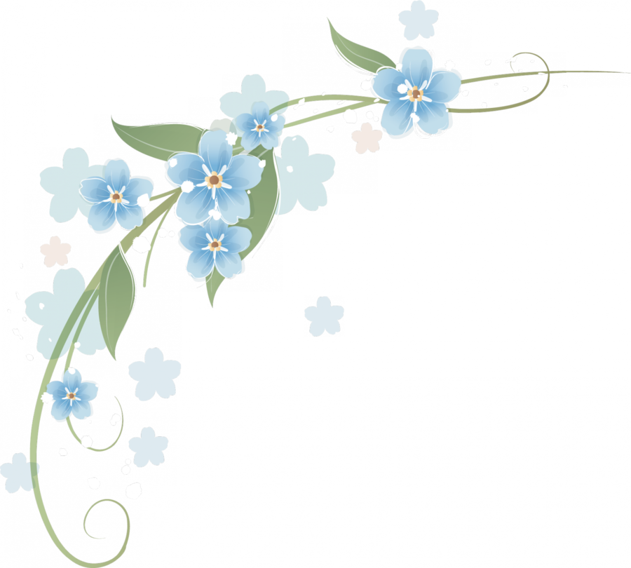 Esquinero De Flores Azules Clipart Flower Borders And.