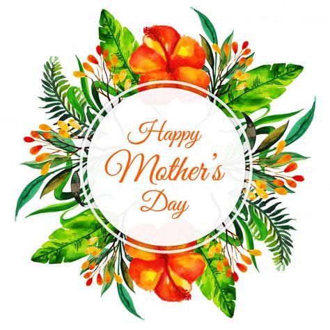 Fondo de marco floral acuarela feliz día de la madre vector.
