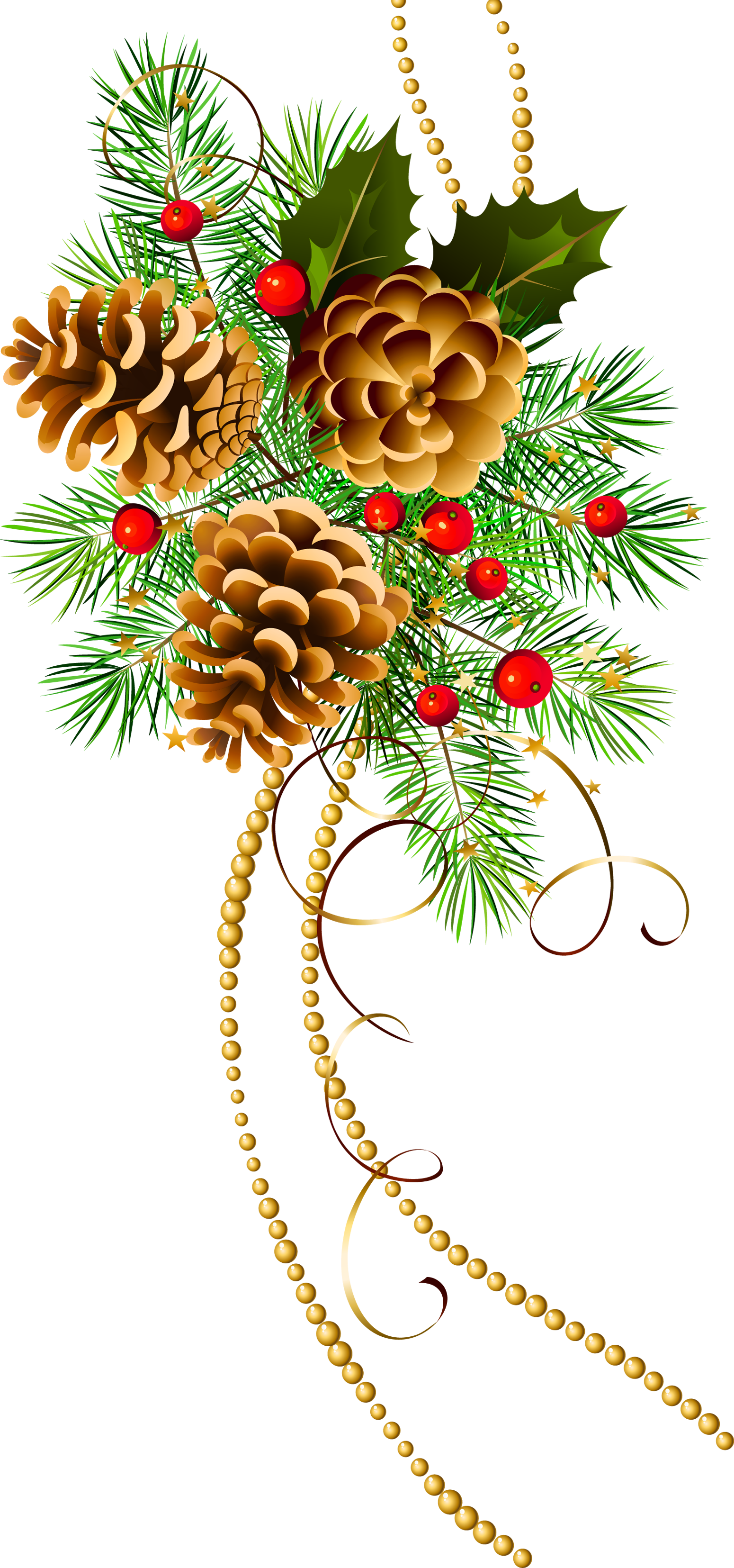 Pine and pine cones Christmas clip art large.