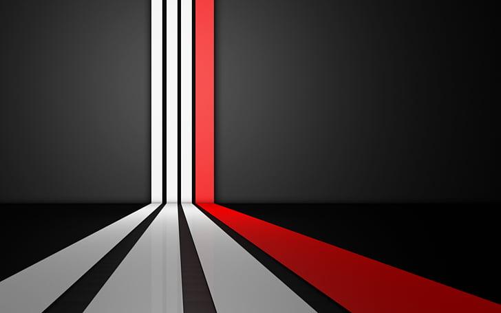 Líneas blancas y rojas, resolución de pantalla blanco y.