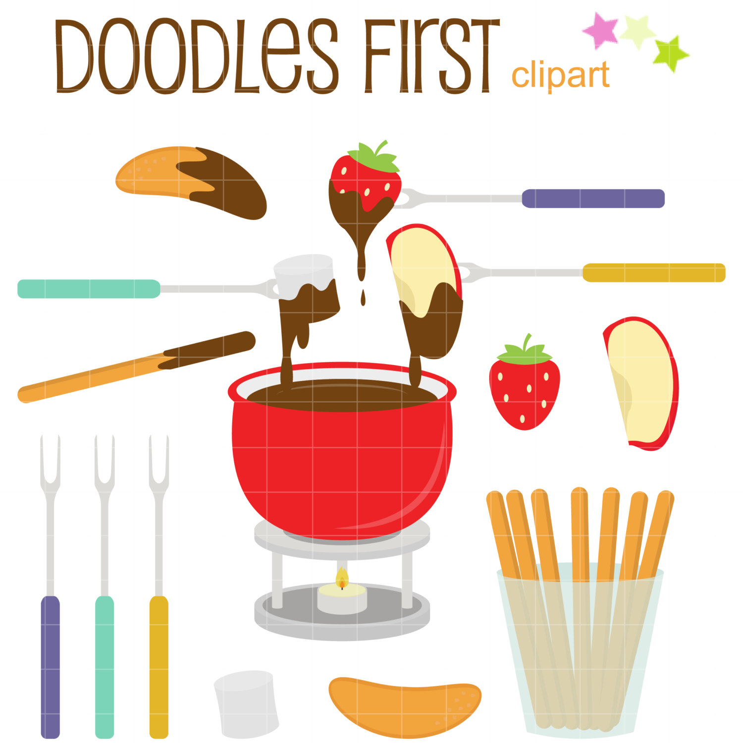 Chocolate fondue clip art.