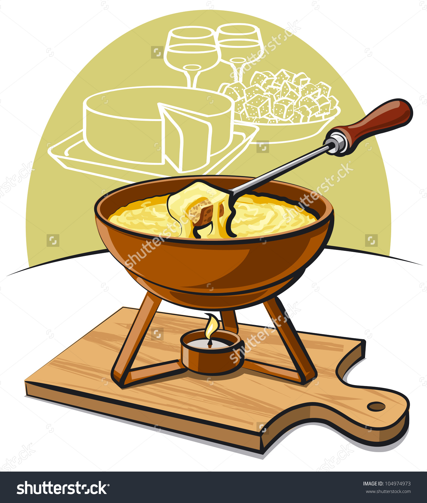 Cheese Fondue Stock Vector 104974973.