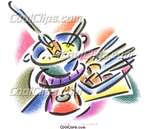 fondue pot with skewers Clip Art.