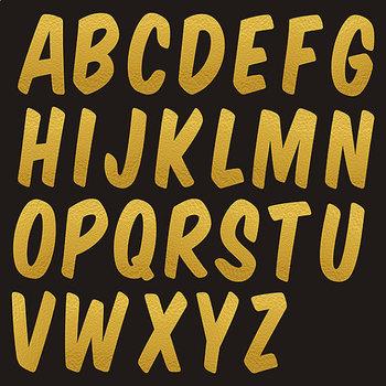 Gold Foil Font Clipart, Gold Alphabet Letters, Gold Letters.