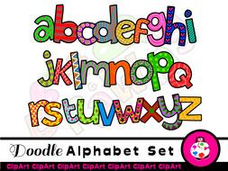 Doodle Alphabet Font Clip Art.