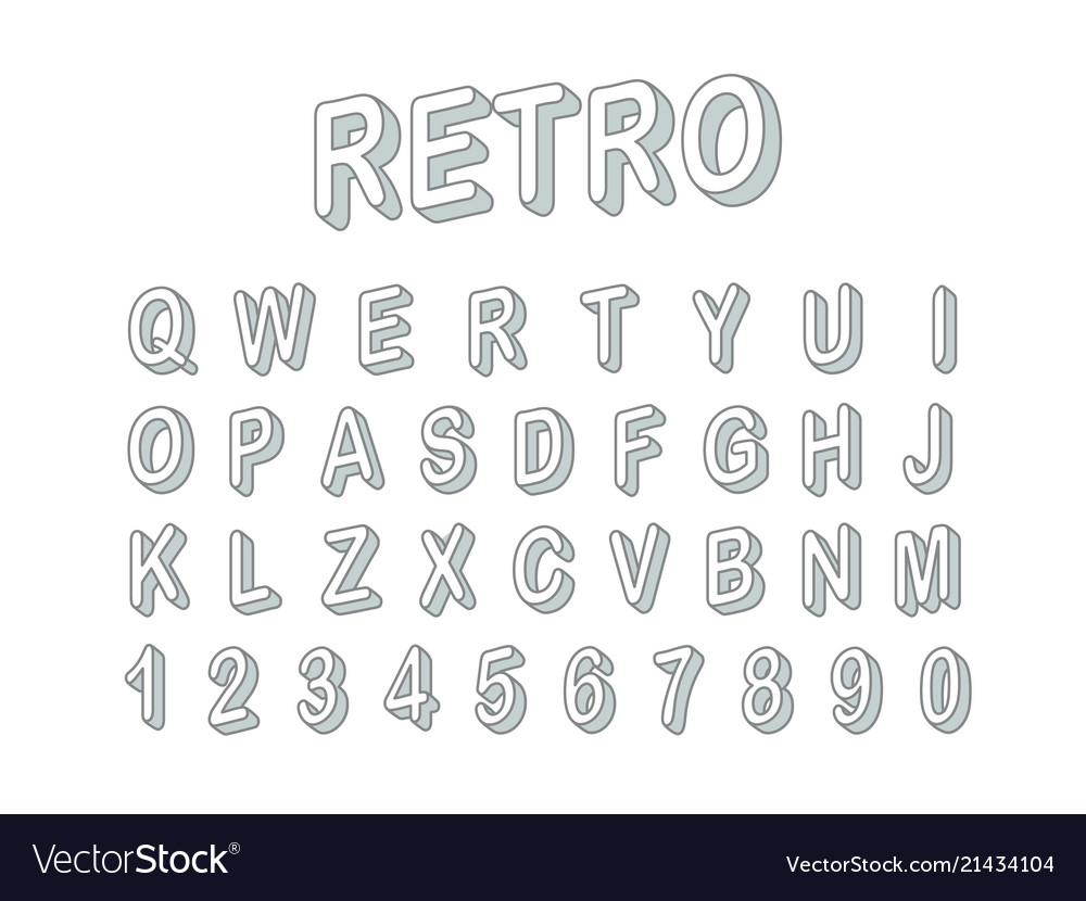 Retro style 3d font clipart letters and digits.