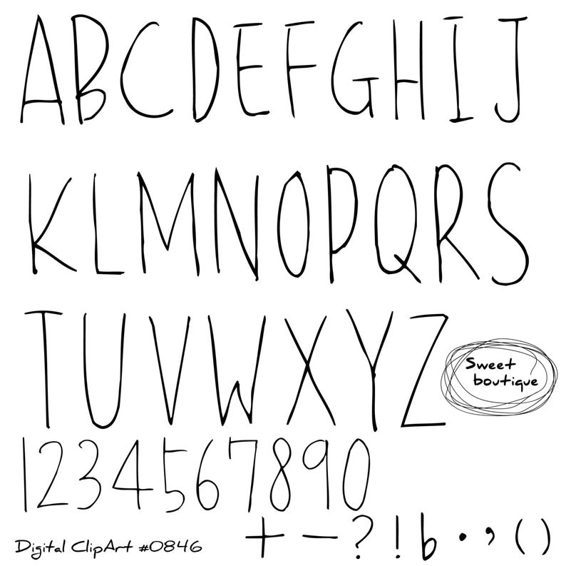 Font ClipArt, Alphabet Letters, Font Clip Art, Black Alphabet, Digital  Letters, Clipart Digital, Handdrawn alphabet, Digital Fonts 0846.